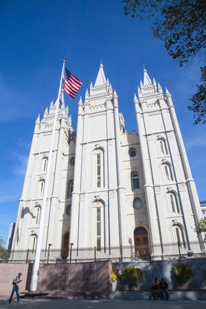 Salt Lake City, Utah, USA - October 8, 2016. Facade of the Salt Lake Temple of The Church of Jesus Christ of Latter-day Saints 에디토리얼
