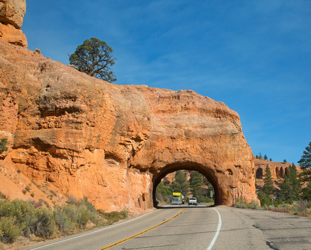 Red canyon on the way to the Bryce canyon national park in Utah, USA