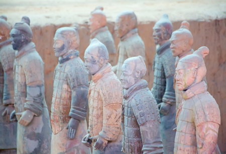 XIAN, CHINA - October 8, 2017: Famous Terracotta Army in Xian, China. The mausoleum of Qin Shi Huang, the first Emperor of China contains collection of terracotta sculptures depicting the armored men and horses.