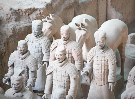 XIAN, CHINA - October 8, 2017: Famous Terracotta Army in Xian, China. The mausoleum of Qin Shi Huang, the first Emperor of China contains collection of terracotta sculptures depicting the armored men 報道画像