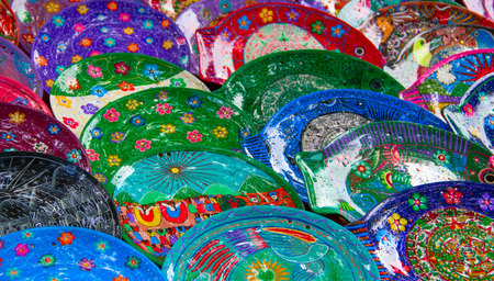 Colorful traditional mexican ceramics on the street market Stock Photo