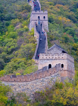Famous Great Wall of China, section Mutianyu, located nearby Beijing city 版權商用圖片