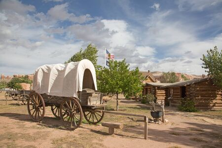 Historial outpost of the Wild West Pioneers on the border between Arizona and Utah Stock Photo