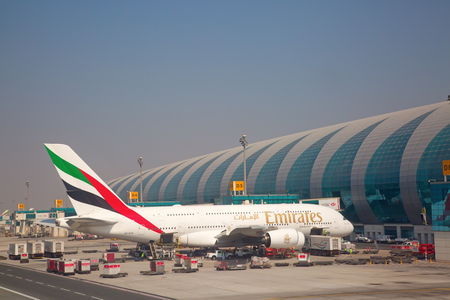 Dubai - September 29:  Planes preparing for take off at Dubai Airport on September 29, 2017 in Dubai, U.A.E. Dubai airport is home port for Emirates Airlines and one of the biggest world hubs.
