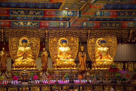 Interior of the Po Lin monastery on Lantau Island (Hong Kong) 報道画像