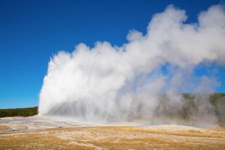 Geyser eruption in the Old faithful area of the Yellowstone national park, USA