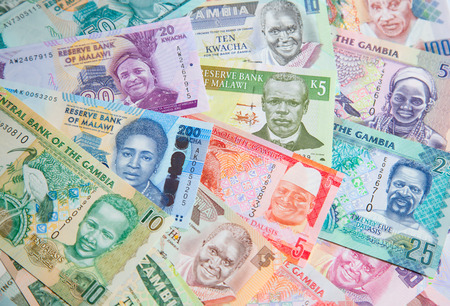 Variety of the African banknotes Imagens