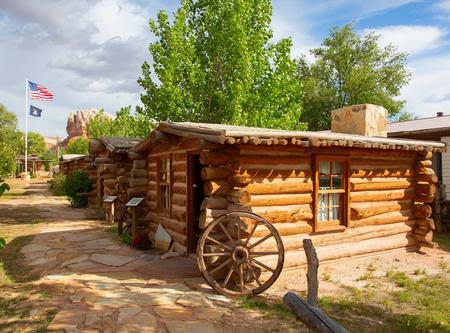 Historische buitenpost van de Wild West Pioneers op de grens tussen Arizona en Utah