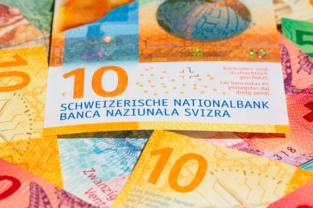 Collection of the new swiss banknotes.
