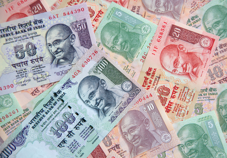 Collection of the Indian banknotes Stock Photo