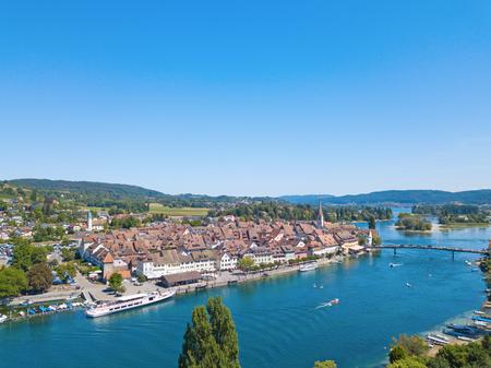 Aerial view of Stein-Am-Rhein medieval city near Shaffhausen, Switzerland Stockfoto