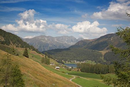 Autumn landscape surrounding Parsennbahn route in Davos, Switzerland