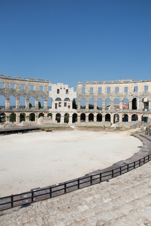 Ancient roman amphitheater in the croatian city Pula