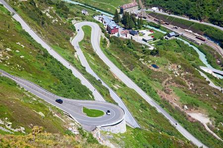 Serpentine road connectine alpine passes Furka and Grimsel