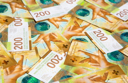 Collection of the barnd new swiss 200 franks banknotes (issued in 2018)
