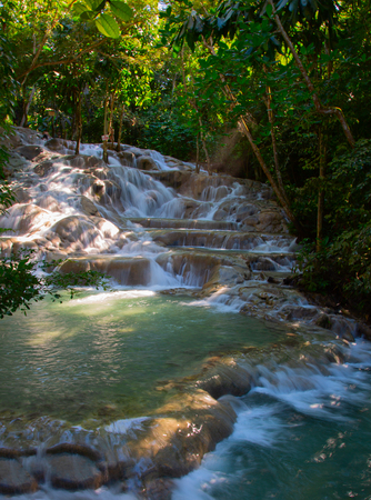 Famous Dunn's river falls on Jamaica Stock Photo
