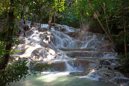 Famous Dunn's river falls on Jamaica 免版税图像