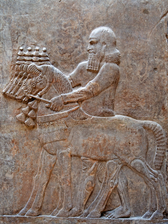 Ancient sumerian stone carving with cuneiform scripting Foto de archivo - 119246440