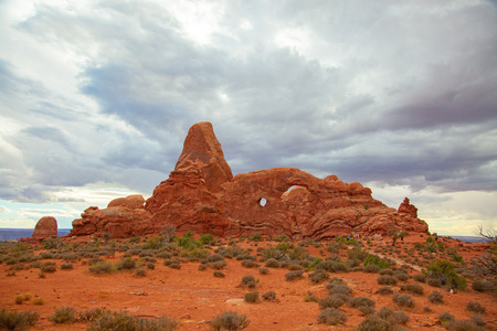 Famous windows in the Arches National park, Utah, USA Stock Photo