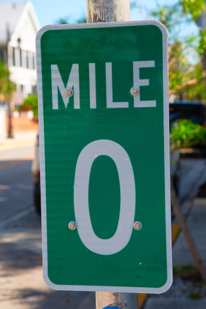 Famous 0 mile sign in Key West, Florida, USA