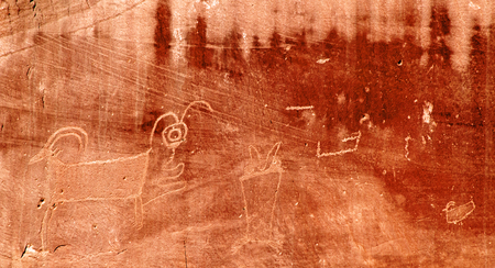 Ancient petroglyphs in the Capitol Reef National Park in Utah, USA 免版税图像
