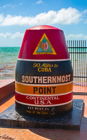 Southernmost Point landmark on a beautiful day, Key West, Florida