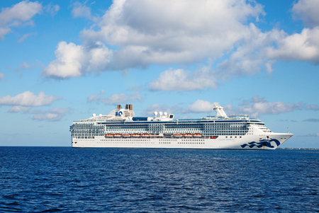 GEORGE TOWN - February 16: Island Proncess visiting George town on the cruise in Caribbean sea on February 16, 2019 in George town, Cayman islands. George town is major cruise destination on Grand Cayman.