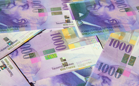 Collection of the Swiss 1000 franks banknotes. 1000 franks note issued by Swiss National Bank (SNB) is one of the most valueable banknotes in the world. The current 1000 franks banknotes are in circulation in Switzerland since 1995.