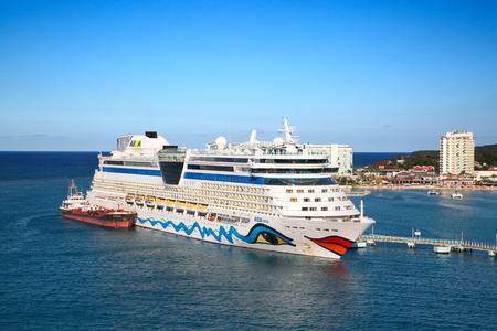 OCHO RIOS - February 15: AIDA Luna visiting Jamaica on the cruise in Caribbean sea on February 15, 2019 in Ocho Rios, Jamaica. Jamaica is popular cruise destination in Caribbean cruises.