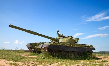 Soviet tank on the demonstration Foto de archivo