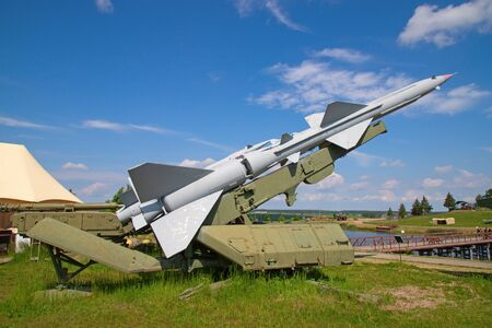 Soviet surface-to-air anti aircraft systems on the military exhibition