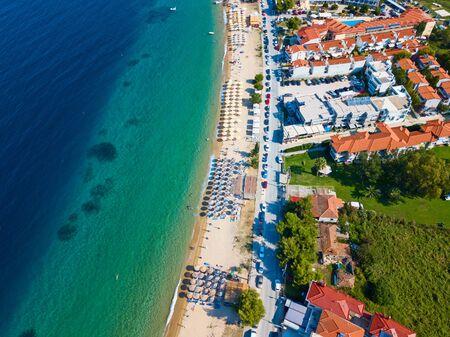 Aerial photo of the beautiful beach on Sitonia, Chalkidiki region, Greece Stock Photo