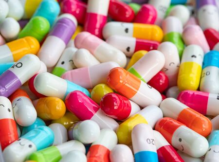 Collection of the colorful capsules with medicines