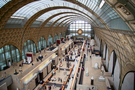 PARIS - FRANCE September 19, 2015: Main hall of the Orsay museum (Musee dOrsay) in Paris, France. Museum is famous for its collection of classical and modern art.