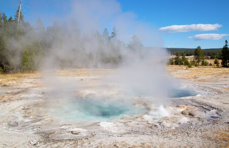 Upper geyser basin in the Yellowstone National park, USA 스톡 콘텐츠 - 132114074