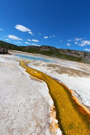 Black sands geyser basin in the Yellowstone National park, USA 스톡 콘텐츠 - 132113242