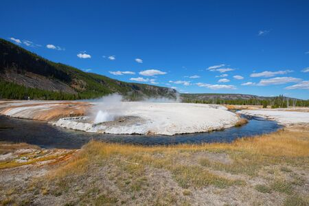 Black sands geyser basin in the Yellowstone National park, USA 스톡 콘텐츠