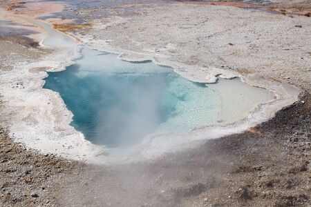 Upper geyser basin in the Yellowstone National park, USA 스톡 콘텐츠 - 132115755