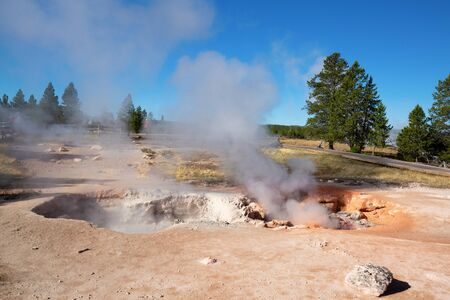 Upper geyser basin in the Yellowstone National park, USA 스톡 콘텐츠 - 132115079