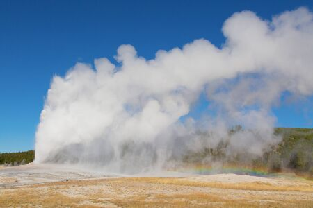 Upper geyser basin in the Yellowstone National park, USA 스톡 콘텐츠 - 132115433