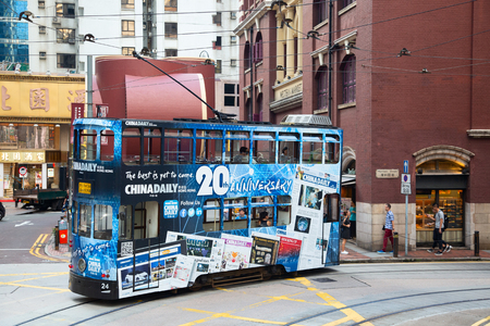 HONG KONG - OCTOBER 02: Unidentified people using tram in Hong Kong on October 02, 2017. Hong Kong tram is the only in the world run with double deckers and one of the main tourist attractions. Editorial