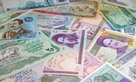 Variety of Middle East banknotes Stock Photo