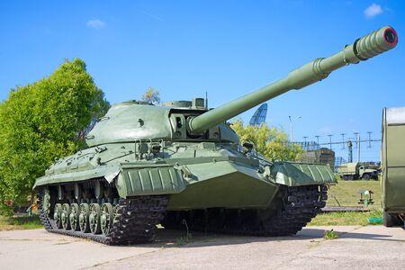 Tanque soviético en la demostración Foto de archivo