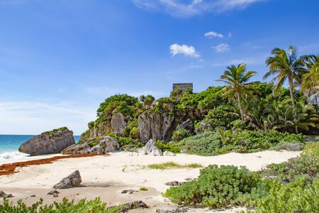 Ruins of the Mayan fortress and temple near Tulum, Mexico Stock Photo
