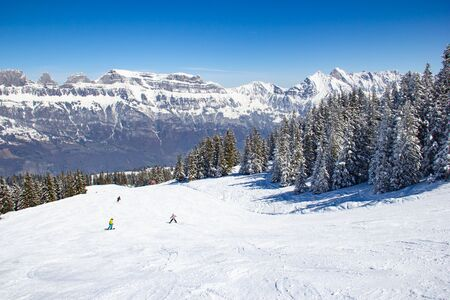 Slope on the skiing resort Flumserberg. Switzerland Stockfoto