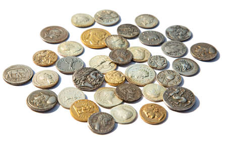Collection of the ancient greek and roman coins on the white Stock Photo