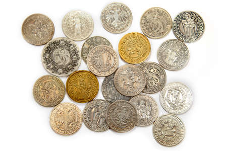 Collection of the medieval coins on the white background Banque d'images