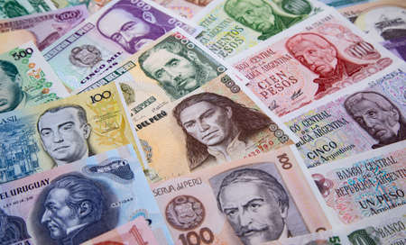 Variety of South American banknotes Reklamní fotografie