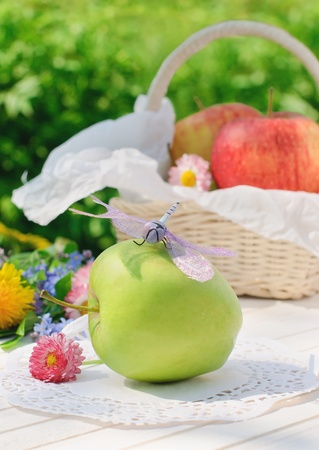 Dragonfly sits on green apple on white garden table in sunny summer day photo
