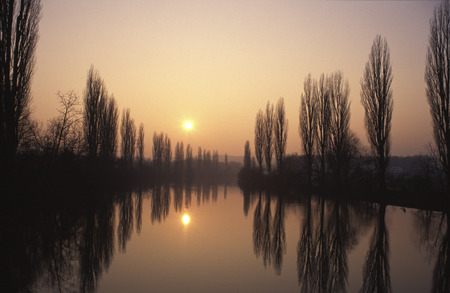 downfall: River Landscape Sunset Stock Photo